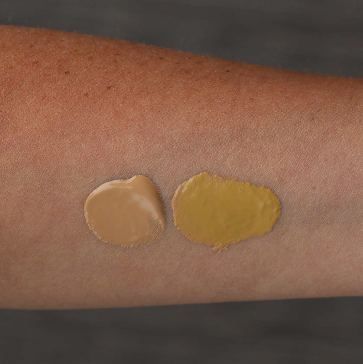 Swatch of cc cream with and without turmeric